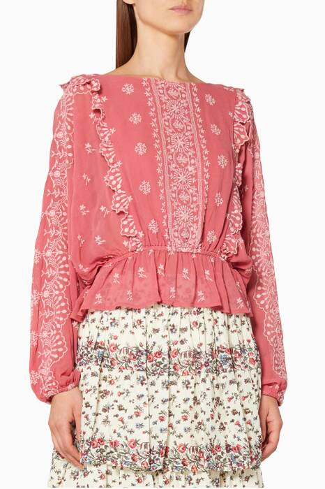 Pink Nellie Embroidered Top