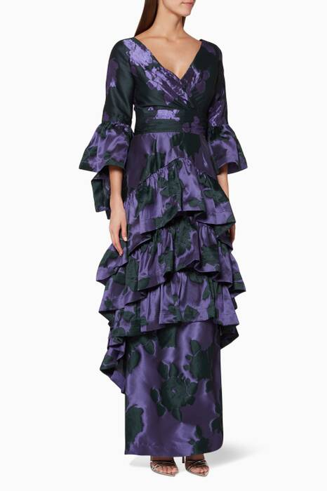 Purple Tiered Ruffle Gown