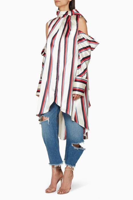 Multi-Coloured Striped Cold-Shoulder Top