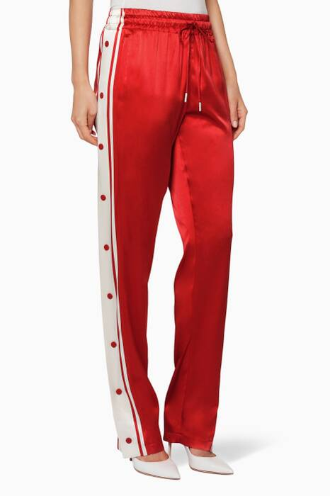 Red Side-Snap Track Pants