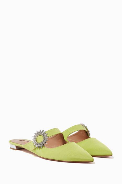 Light Green Crystal Blossom Flats