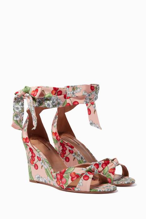 Multi-Coloured Cherry Blossom Wedge Sandals