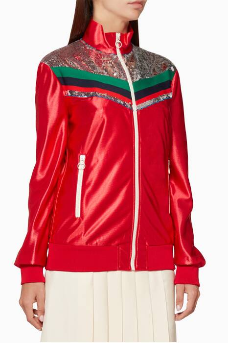 Red Sequin-Embellished Technical Jacket