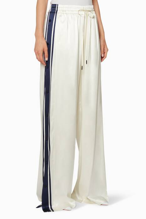 White Satin Side-Snap Track Pants