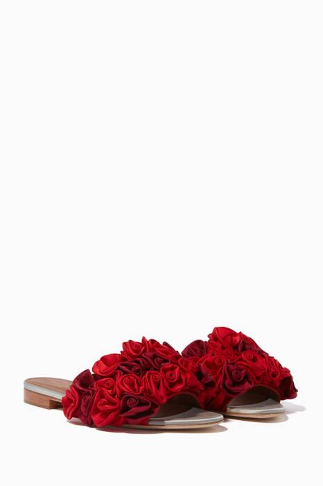 Red Bacilio Rose Embellished Flats