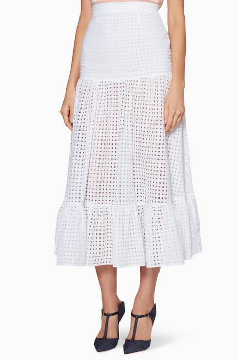 White Embroidered Marianne Maxi Skirt