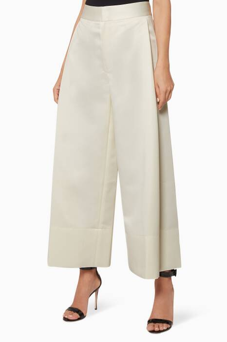 Cream Wide-Leg Pants