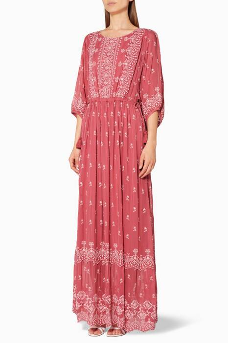 Pink Cecily Embroidered Maxi Dress