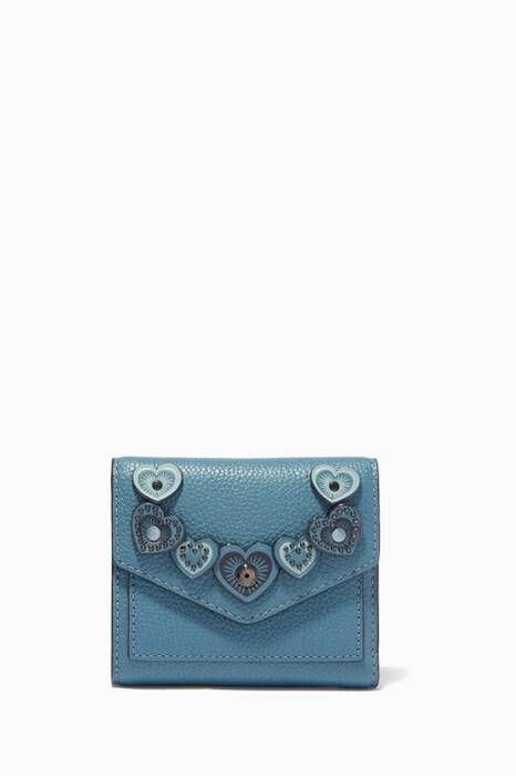 Chambray-Blue Heart Appliqué Small Wallet