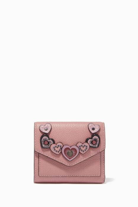 Dusty Rose Heart Appliqué Small Wallet