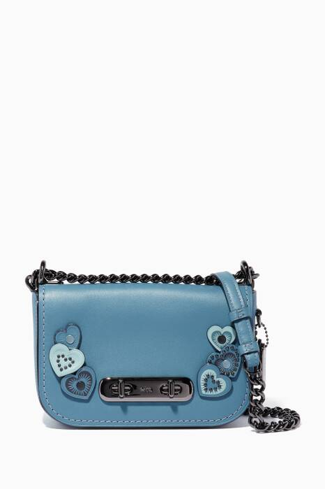 Chambray-Blue Heart-Appliqué Swagger 20 Shoulder Bag