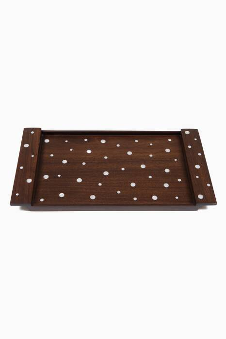 Brown Walnut & Mother Of Pearl Polka Small Classic Tray