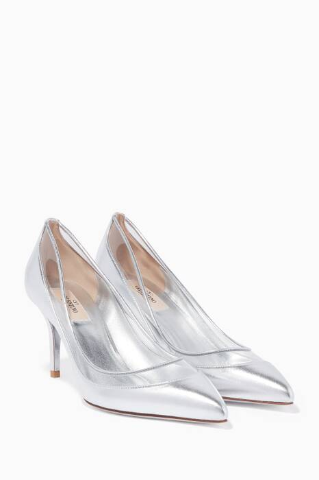 Metallic-Silver & PVC Glassglow Pumps
