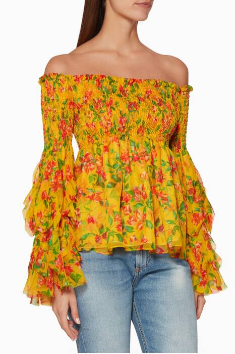 Multi-Coloured Alessandra Off-The-Shoulder Top