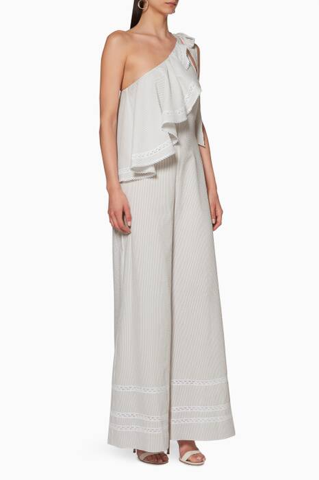 White One-Shoulder Jumpsuit
