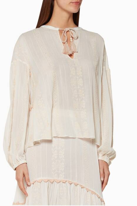 Light-Pink Embroidered Cotton Blouse