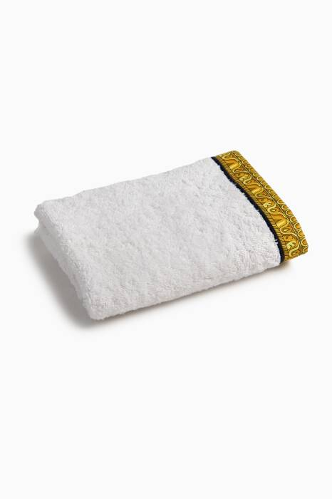 White, Black & Gold Barocco & Robe Hand Towel