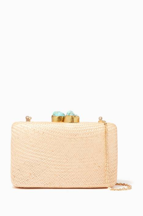Natural Stone-Embellished Jen Clutch