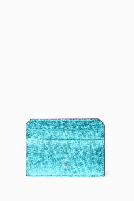 Metallic-Blue Leather Cardholder