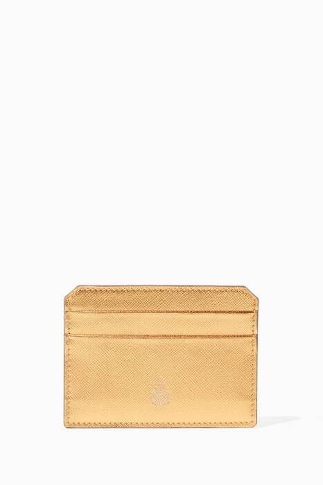 Metallic-Bronze Leather Cardholder