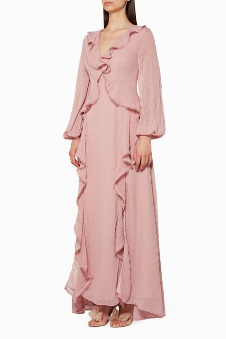 Light-Pink Ruffled Hideaway Gown