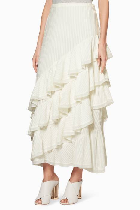 White Ruffled Mackenzie Midi Skirt