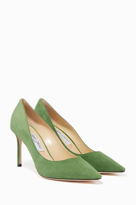Lime-Green Suede Romy 85 Pumps