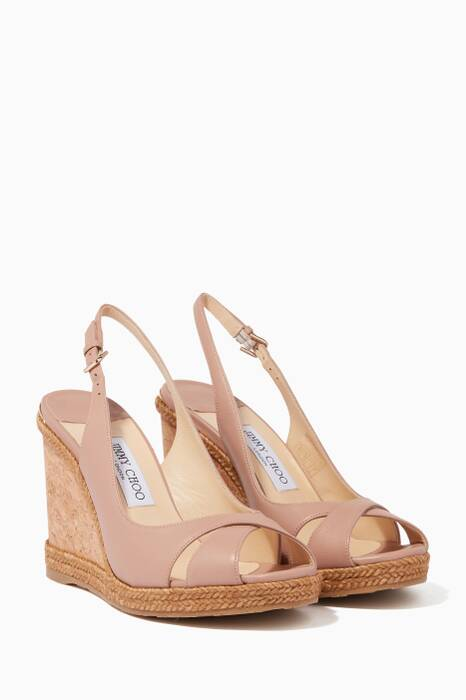 Ballet-Pink Leather Amely Slingback Wedges