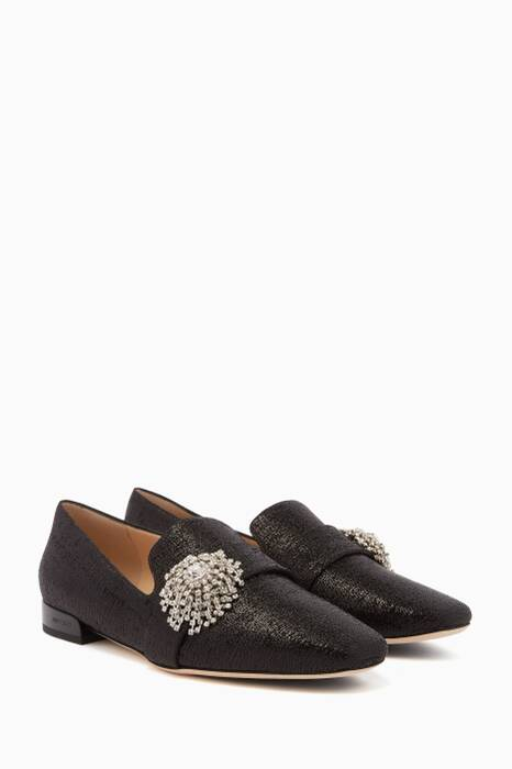 Black & Silver-Crystal Square-Toe Jaida Slippers