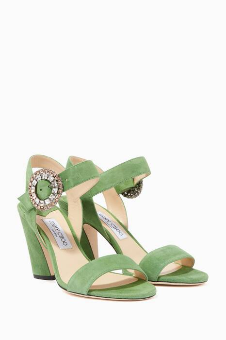 Lime-Green & Silver-Crystal Mischa 85 Sandals