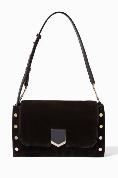 Black Lockett Suede Shoulder Bag
