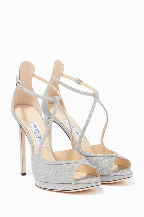 Silver Glitter-Leather Fawne 120 Sandals