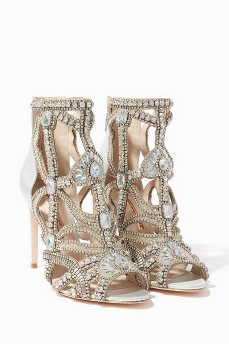 Silver Embellished Iridessa Caged Sandals