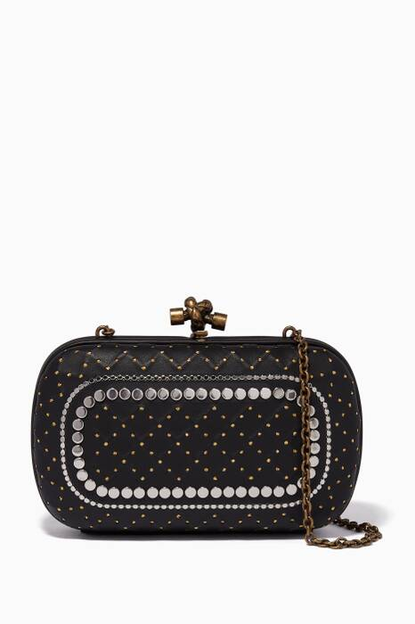 Black Catena Studded Knot Chain Clutch