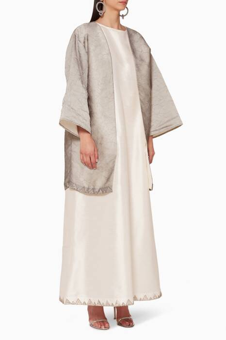 Grey Short Bisht With Sleeveless Dress
