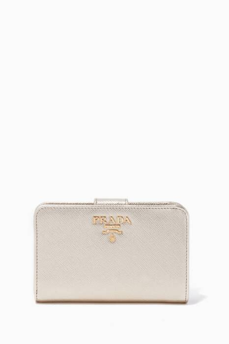 Gold Saffiano Leather Zip-Around Wallet
