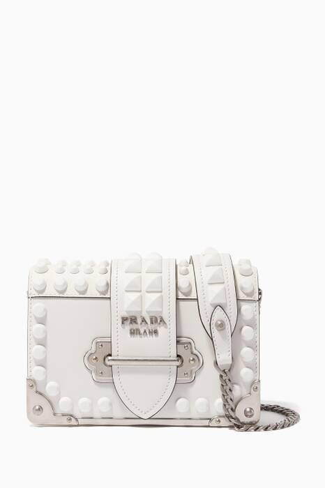White Studded Mini Cahier Shoulder Bag