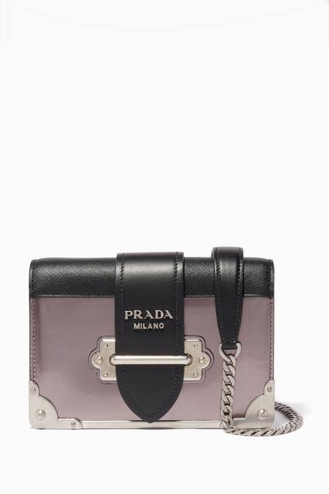 Dark-grey Mini Cahiers Leather Shoulder Bag