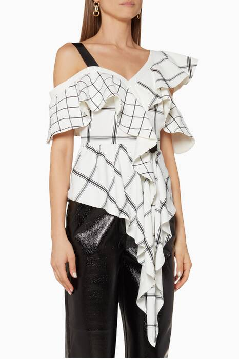 White & Black Asymmetric Frill Check Top