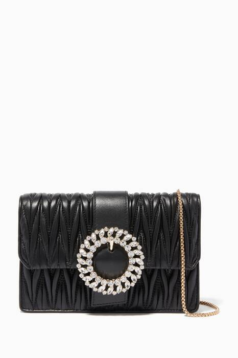 Black Crystal-Embellished Matelassé Cross-Body Bag