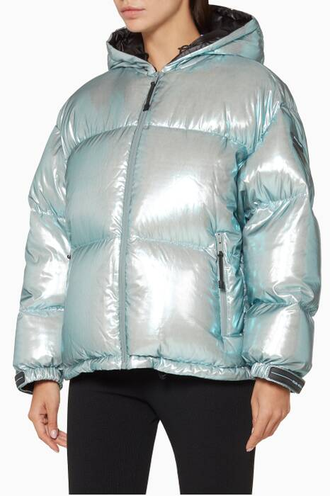 Metallic Light-Blue Puffer Hooded Jacket