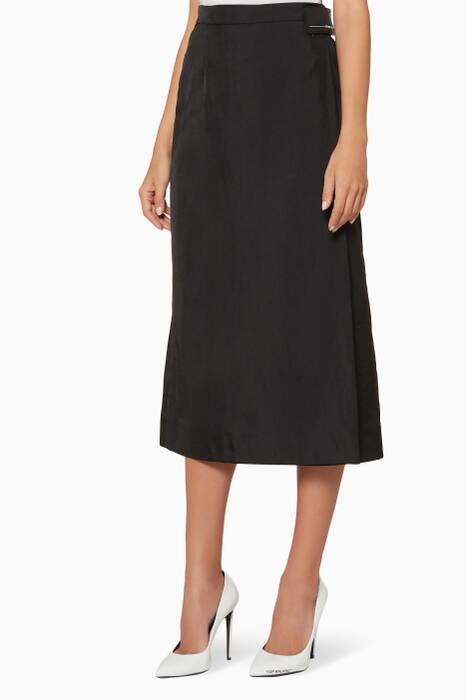 Black Wrap-Front Technical Jersey Skirt