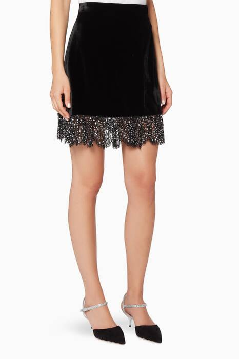 Black Lace-Trimmed Velvet Mini Skirt