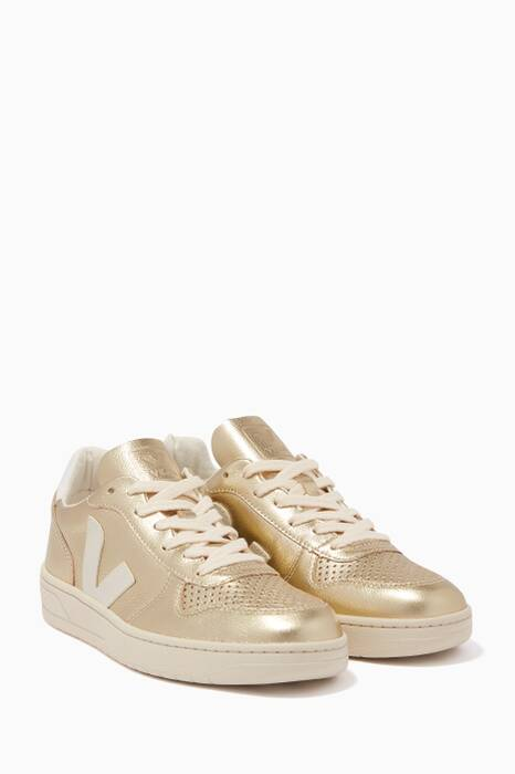 Metallic-Gold V-10 Sneakers