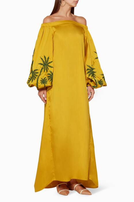 Yellow Off-The-Shoulder Embroidered Kaftan