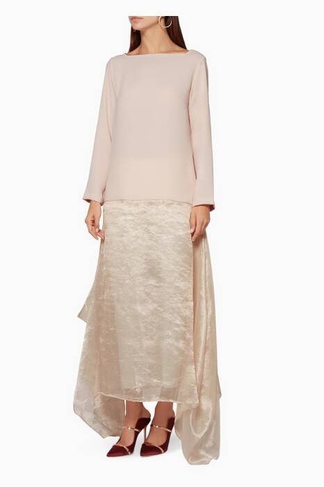 Light-Pink Two-Tone Long-Sleeve Kaftan