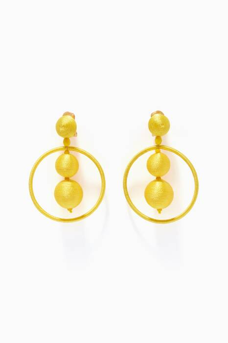Yellow Beaded Ball Hoop Earrings