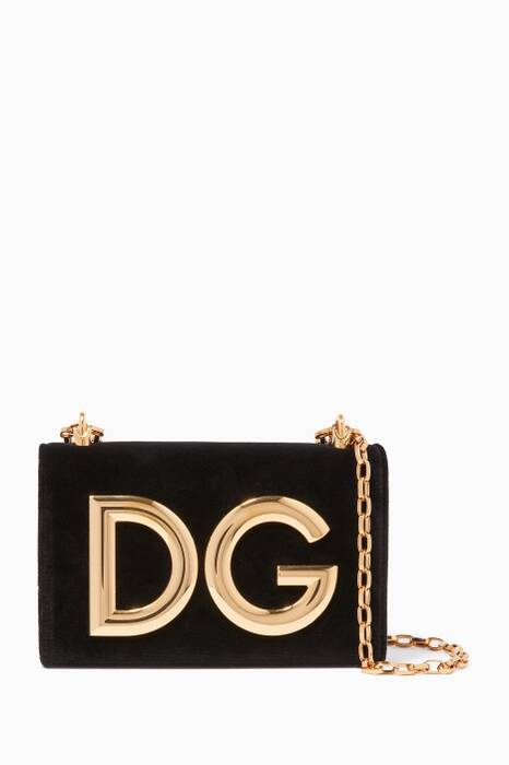 Black Velvet DG Girls Chain Shoulder Bag