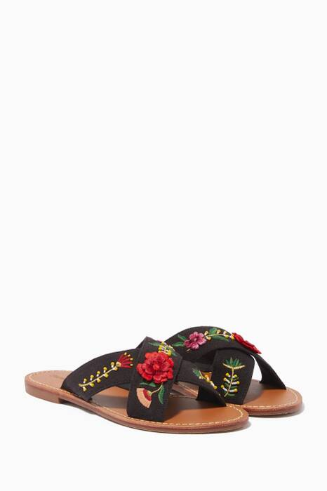 Black Embroidered Floral Sandals