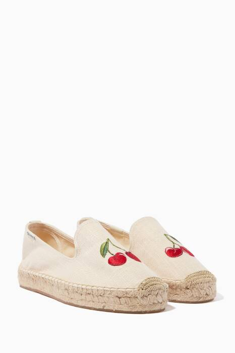 Beige Cherry Embroidered Smoking Slippers